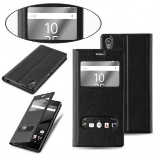 Cadorabo Hülle für Sony Xperia Z5 PREMIUM in KOMETEN SCHWARZ ? Handyhülle mit Magnetverschluss, Standfunktion und 2 Sichtfenstern ? Case Cover Schutzhülle Etui Tasche Book Klapp Style - Vorschau 5