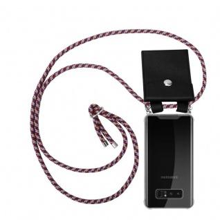 Cadorabo Handy Kette für Samsung Galaxy NOTE 8 in ROT GELB WEISS Silikon Necklace Umhänge Hülle mit Silber Ringen, Kordel Band Schnur und abnehmbarem Etui Schutzhülle