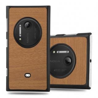 Cadorabo Hülle für Nokia Lumia 1020 in WOODY BRAUN - Hardcase Handyhülle aus Plastik gegen Kratzer und Stöße - Schutzhülle Bumper Ultra Slim Back Case Hard Cover
