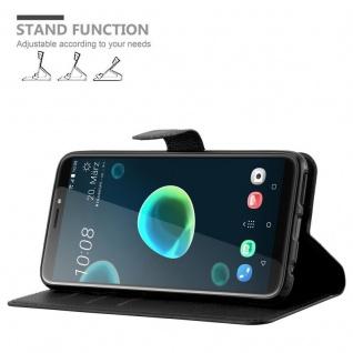 Cadorabo Hülle für HTC Desire 12 PLUS in PHANTOM SCHWARZ - Handyhülle mit Magnetverschluss, Standfunktion und Kartenfach - Case Cover Schutzhülle Etui Tasche Book Klapp Style - Vorschau 5