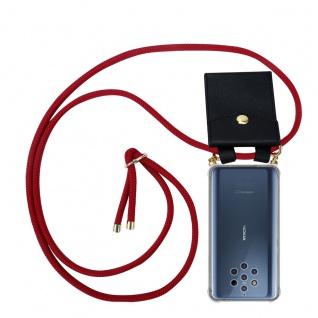 Cadorabo Handy Kette für Nokia 10 in RUBIN ROT Silikon Necklace Umhänge Hülle mit Gold Ringen, Kordel Band Schnur und abnehmbarem Etui Schutzhülle