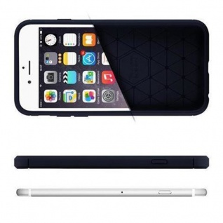 Cadorabo Hülle für Apple iPhone 8 PLUS / iPhone 7 PLUS / iPhone 7S PLUS - Hülle in BRUSHED BLAU - Handyhülle aus TPU Silikon in Edelstahl-Karbonfaser Optik - Silikonhülle Schutzhülle Ultra Slim Soft Back Cover Case Bumper - Vorschau 4