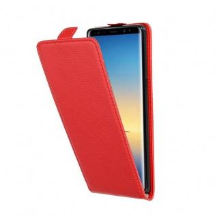 Cadorabo Hülle für Samsung Galaxy NOTE 8 in INFERNO ROT Handyhülle im Flip Design aus strukturiertem Kunstleder Case Cover Schutzhülle Etui Tasche Book Klapp Style