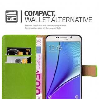 Cadorabo Hülle für Samsung Galaxy NOTE 5 in GRAS GRÜN ? Handyhülle mit Magnetverschluss, Standfunktion und Kartenfach ? Case Cover Schutzhülle Etui Tasche Book Klapp Style - Vorschau 3
