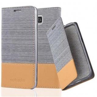 Cadorabo Hülle für Samsung Galaxy ALPHA in HELL GRAU BRAUN - Handyhülle mit Magnetverschluss, Standfunktion und Kartenfach - Case Cover Schutzhülle Etui Tasche Book Klapp Style