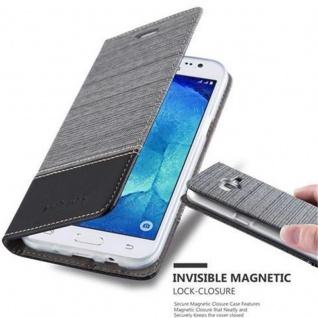 Cadorabo Hülle für Samsung Galaxy J5 2015 in GRAU SCHWARZ - Handyhülle mit Magnetverschluss, Standfunktion und Kartenfach - Case Cover Schutzhülle Etui Tasche Book Klapp Style