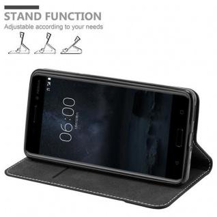 Cadorabo Hülle für Nokia 6 2017 in SCHWARZ BRAUN ? Handyhülle mit Magnetverschluss, Standfunktion und Kartenfach ? Case Cover Schutzhülle Etui Tasche Book Klapp Style - Vorschau 3