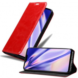 Cadorabo Hülle für LG G8 ThinQ in APFEL ROT Handyhülle mit Magnetverschluss, Standfunktion und Kartenfach Case Cover Schutzhülle Etui Tasche Book Klapp Style