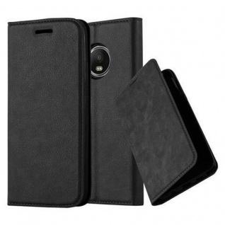 Cadorabo Hülle für Motorola MOTO G5 in NACHT SCHWARZ - Handyhülle mit Magnetverschluss, Standfunktion und Kartenfach - Case Cover Schutzhülle Etui Tasche Book Klapp Style