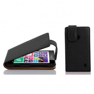 Cadorabo Hülle für Nokia Lumia 630 / 635 in OXID SCHWARZ Handyhülle im Flip Design aus strukturiertem Kunstleder Case Cover Schutzhülle Etui Tasche Book Klapp Style