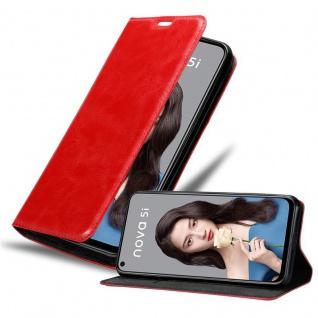 Cadorabo Hülle für Huawei NOVA 5i / P20 LITE 2019 in APFEL ROT - Handyhülle mit Magnetverschluss, Standfunktion und Kartenfach - Case Cover Schutzhülle Etui Tasche Book Klapp Style
