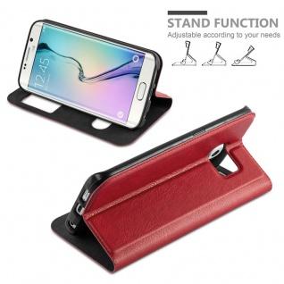Cadorabo Hülle für Samsung Galaxy S6 EDGE PLUS in SAFRAN ROT - Handyhülle mit Magnetverschluss, Standfunktion und 2 Sichtfenstern - Case Cover Schutzhülle Etui Tasche Book Klapp Style - Vorschau 4