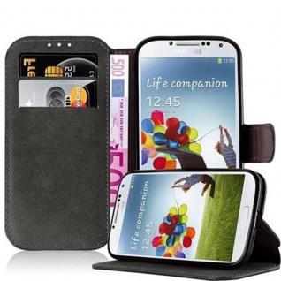 Cadorabo Hülle für Samsung Galaxy S4 - Hülle in MATT GRAU - Handyhülle mit Standfunktion und Kartenfach im Retro Design - Case Cover Schutzhülle Etui Tasche Book Klapp Style
