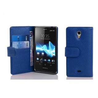 Cadorabo Hülle für Sony Xperia T in KÖNIGS BLAU - Handyhülle aus strukturiertem Kunstleder mit Standfunktion und Kartenfach - Case Cover Schutzhülle Etui Tasche Book Klapp Style