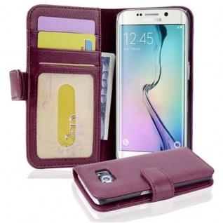 Cadorabo Hülle für Samsung Galaxy S6 EDGE in BORDEAUX LILA ? Handyhülle mit Magnetverschluss und 3 Kartenfächern ? Case Cover Schutzhülle Etui Tasche Book Klapp Style
