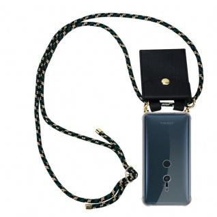 Cadorabo Handy Kette für Sony Xperia XZ2 in CAMOUFLAGE - Silikon Necklace Umhänge Hülle mit Gold Ringen, Kordel Band Schnur und abnehmbarem Etui ? Schutzhülle