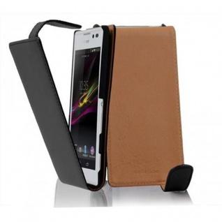 Cadorabo Hülle für Sony Xperia C in KAVIAR SCHWARZ - Handyhülle im Flip Design aus glattem Kunstleder - Case Cover Schutzhülle Etui Tasche Book Klapp Style