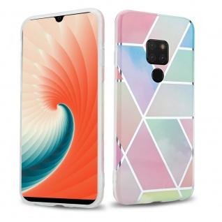 Cadorabo Hülle für Huawei MATE 20 Hülle in Regenbogen Marmor No.11 Handyhülle aus TPU Silikon mit Muster Mosaik Silikonhülle Schutzhülle Ultra Slim Back Cover Case Bumper