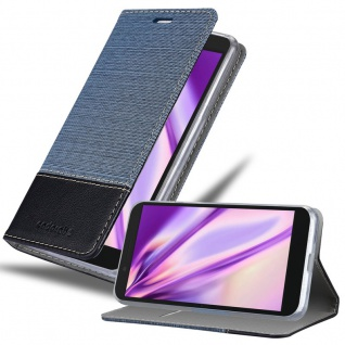 Cadorabo Hülle für Alcatel 1S in DUNKEL BLAU SCHWARZ - Handyhülle mit Magnetverschluss, Standfunktion und Kartenfach - Case Cover Schutzhülle Etui Tasche Book Klapp Style