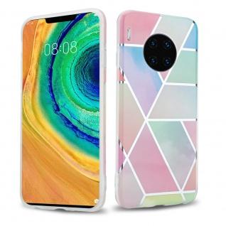 Cadorabo Hülle für Huawei MATE 30 PRO Hülle in Regenbogen Marmor No.11 Handyhülle aus TPU Silikon mit Muster Mosaik Silikonhülle Schutzhülle Ultra Slim Back Cover Case Bumper