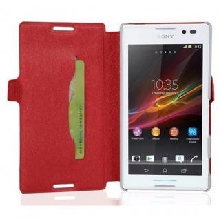 Cadorabo Hülle für Sony Xperia C - Hülle in ICY ROT ? Handyhülle mit Standfunktion und Kartenfach im Ultra Slim Design - Case Cover Schutzhülle Etui Tasche Book