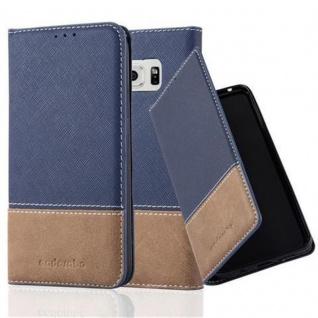 Cadorabo Hülle für Samsung Galaxy S6 in DUNKEL BLAU BRAUN ? Handyhülle mit Magnetverschluss, Standfunktion und Kartenfach ? Case Cover Schutzhülle Etui Tasche Book Klapp Style