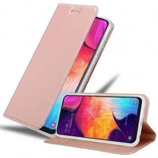 Cadorabo Hülle für Samsung Galaxy A50 in CLASSY ROSÉ GOLD - Handyhülle mit Magnetverschluss, Standfunktion und Kartenfach - Case Cover Schutzhülle Etui Tasche Book Klapp Style