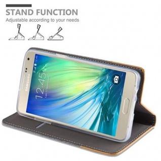 Cadorabo Hülle für Samsung Galaxy A3 2015 in HELL GRAU BRAUN - Handyhülle mit Magnetverschluss, Standfunktion und Kartenfach - Case Cover Schutzhülle Etui Tasche Book Klapp Style - Vorschau 4