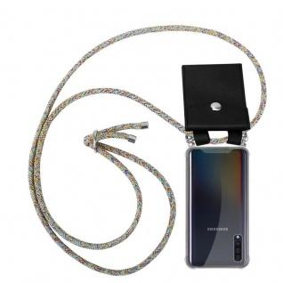 Cadorabo Handy Kette für Samsung Galaxy A50 in RAINBOW - Silikon Necklace Umhänge Hülle mit Silber Ringen, Kordel Band Schnur und abnehmbarem Etui - Schutzhülle