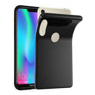 Cadorabo Hülle für Honor 8C in SCHWARZ - Handyhülle aus flexiblem TPU Silikon - Silikonhülle Schutzhülle Ultra Slim Soft Back Cover Case Bumper