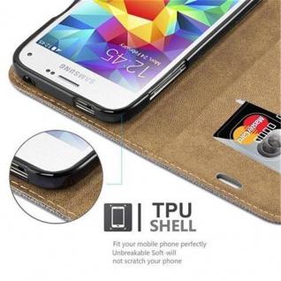 Cadorabo Hülle für Samsung Galaxy S5 MINI / S5 MINI DUOS - Hülle in GRAU BLAU - Handyhülle in Bast-Optik mit Kartenfach und Standfunktion - Case Cover Schutzhülle Etui Tasche Book Klapp Style - Vorschau 3
