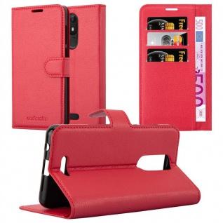 Cadorabo Hülle für WIKO VIEW LITE in KARMIN ROT Handyhülle mit Magnetverschluss, Standfunktion und Kartenfach Case Cover Schutzhülle Etui Tasche Book Klapp Style