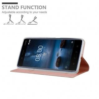 Cadorabo Hülle für Nokia 8 2017 in CLASSY ROSÉ GOLD - Handyhülle mit Magnetverschluss, Standfunktion und Kartenfach - Case Cover Schutzhülle Etui Tasche Book Klapp Style - Vorschau 4