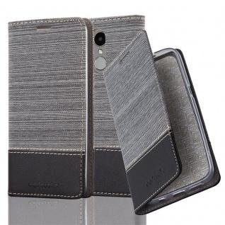 Cadorabo Hülle für LG K4 2017 in GRAU SCHWARZ - Handyhülle mit Magnetverschluss, Standfunktion und Kartenfach - Case Cover Schutzhülle Etui Tasche Book Klapp Style