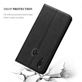 Cadorabo Hülle für Huawei Y6 2019 in NACHT SCHWARZ - Handyhülle mit Magnetverschluss, Standfunktion und Kartenfach - Case Cover Schutzhülle Etui Tasche Book Klapp Style - Vorschau 5