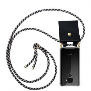 Cadorabo Handy Kette für Huawei MATE 30 LITE in DUNKELBLAU GELB - Silikon Necklace Umhänge Hülle mit Gold Ringen, Kordel Band Schnur und abnehmbarem Etui - Schutzhülle