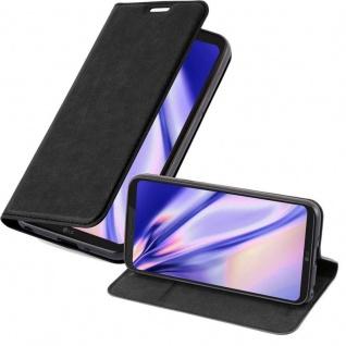 Cadorabo Hülle für LG Q6 in NACHT SCHWARZ - Handyhülle mit Magnetverschluss, Standfunktion und Kartenfach - Case Cover Schutzhülle Etui Tasche Book Klapp Style