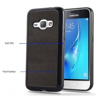 Cadorabo Hülle für Samsung Galaxy J1 2016 in WOODEN SCHWARZ ? Handyhülle aus flexiblem TPU Silikon ? Silikonhülle Schutzhülle Ultra Slim Soft Back Cover Case Bumper - Vorschau 4
