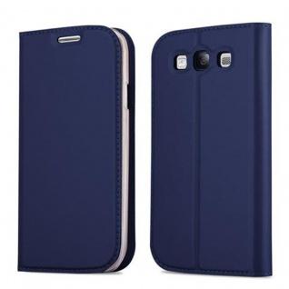 Cadorabo Hülle für Samsung Galaxy S3 / S3 NEO in CLASSY DUNKEL BLAU - Handyhülle mit Magnetverschluss, Standfunktion und Kartenfach - Case Cover Schutzhülle Etui Tasche Book Klapp Style
