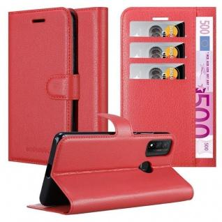 Cadorabo Hülle für Huawei P Smart 2020 in KARMIN ROT Handyhülle mit Magnetverschluss, Standfunktion und Kartenfach Case Cover Schutzhülle Etui Tasche Book Klapp Style