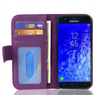Cadorabo Hülle für Samsung Galaxy J7 2017 in BORDEAUX LILA - Handyhülle mit Magnetverschluss und 3 Kartenfächern - Case Cover Schutzhülle Etui Tasche Book Klapp Style