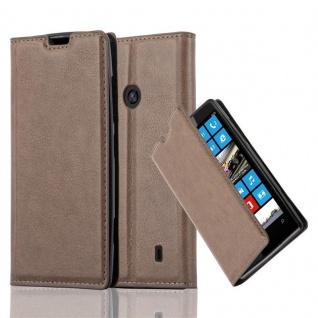 Cadorabo Hülle für Nokia Lumia 520 in KAFFEE BRAUN - Handyhülle mit Magnetverschluss, Standfunktion und Kartenfach - Case Cover Schutzhülle Etui Tasche Book Klapp Style