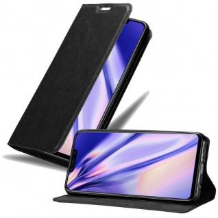 Cadorabo Hülle für Huawei P SMART PLUS in NACHT SCHWARZ Handyhülle mit Magnetverschluss, Standfunktion und Kartenfach Case Cover Schutzhülle Etui Tasche Book Klapp Style