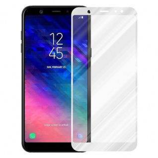 Cadorabo Vollbild Panzer Folie für Samsung Galaxy A6 PLUS 2018 - Schutzfolie in TRANSPARENT mit WEISS - Gehärtetes (Tempered) Display-Schutzglas in 9H Härte mit 3D Touch Kompatibilität - Vorschau 2