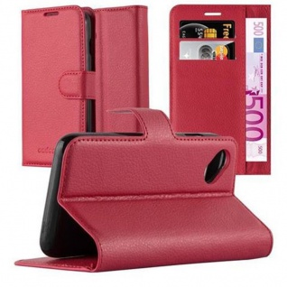 Cadorabo Hülle für WIKO SUNNY in KARMIN ROT - Handyhülle mit Magnetverschluss, Standfunktion und Kartenfach - Case Cover Schutzhülle Etui Tasche Book Klapp Style