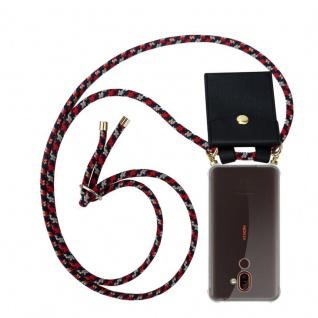 Cadorabo Handy Kette für Nokia 7 PLUS in ROT BLAU GELB Silikon Necklace Umhänge Hülle mit Gold Ringen, Kordel Band Schnur und abnehmbarem Etui Schutzhülle