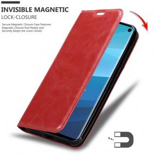 Cadorabo Hülle für Samsung Galaxy S10 in APFEL ROT - Handyhülle mit Magnetverschluss, Standfunktion und Kartenfach - Case Cover Schutzhülle Etui Tasche Book Klapp Style - Vorschau 3