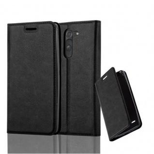 Cadorabo Hülle für LG G3 STYLUS in NACHT SCHWARZ - Handyhülle mit Magnetverschluss, Standfunktion und Kartenfach - Case Cover Schutzhülle Etui Tasche Book Klapp Style