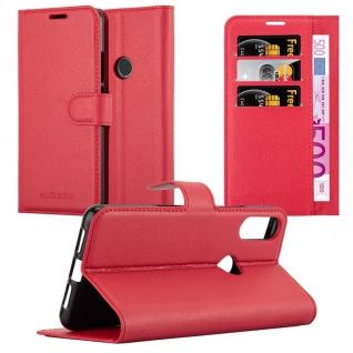 Cadorabo Hülle für WIKO VIEW 2 PRO in KARMIN ROT Handyhülle mit Magnetverschluss, Standfunktion und Kartenfach Case Cover Schutzhülle Etui Tasche Book Klapp Style