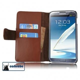 Cadorabo Hülle für Samsung Galaxy NOTE 2 in KAKAO BRAUN - Handyhülle aus glattem Kunstleder mit Standfunktion und Kartenfach - Case Cover Schutzhülle Etui Tasche Book Klapp Style